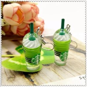 Macha Green Tea Frappe Coffee House Earrings